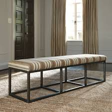 bench upholstered dining room bench arched gray fabric