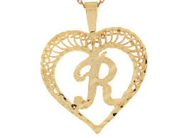 real gold filigree beautiful heart letter r initial 2 92cm slide