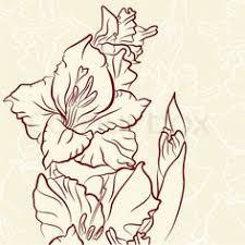 purple nice gladiolus flower tattoo design stencil gladiolus