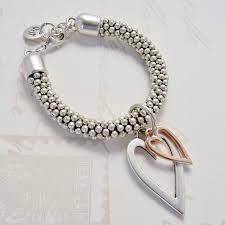silver bead bracelet with heart images Orli silver beaded open and mini heart bracelet herbary troon jpg