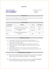 Sample Resume Format For Zoology Freshers by Sample Resume For Freshers Bca Templates