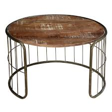 Rustic Round Coffee Table The Fence Mango Wood U0026 Iron Rustic 30 U201d Round Coffee Table