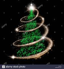 elegant christmas tree in green silver and gold over black stock
