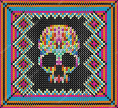 pattern with skull and ethnic mexican elements day of the dead a