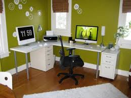 decorating green office room with wood flooring plus printer