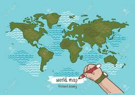 world map image drawing world map sketch vector freehand drawing royalty free cliparts