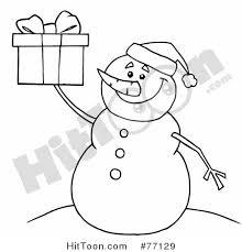 snowman clipart 77129 black white coloring outline