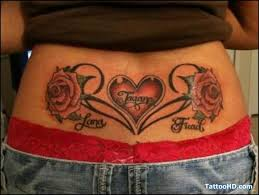 latest love tattoo with red rose on lower back tattooshunter com