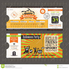 halloween party card in train ticket pass style stock vector