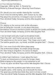 Blind To You Lyrics Old Time Song Lyrics For 43 Little Daughter Nell