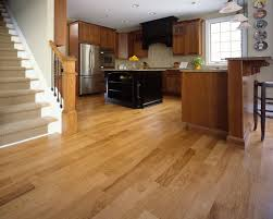 hickory hardwood floor combined dark brown varnished kitchen set