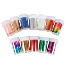 bmc 12pc mixed holograph color nail foil art strips transfer