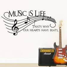 music is why our hearts have beats wall sticker hoom decor art