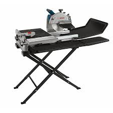 sliding table tile saw shop bosch 10 in 1 4 hp wet bridge sliding table tile saw with stand