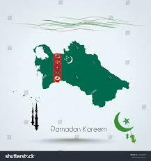 Flag Of Turkmenistan Ramadan Kareem Feast Ramadan Turkmenistan Map Stock Vector