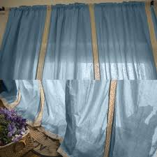 Linen Valance Online Shop 2pcs Blue Hollow Stitching Panel Cotton Linen Lace