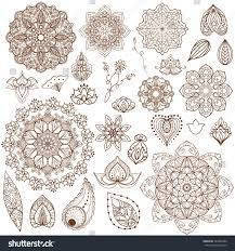 doodle indian ornamental henna flowers doodle indian vector stock vector