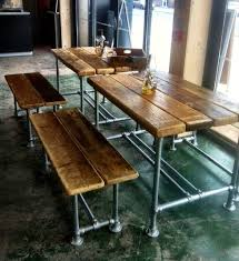 Industrial Dining Room by Large Reclaimed Scaffold Dining Table And Benches Industrial