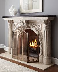 Hand Painted Fireplace Screens - edge fireplace mantel inspired by classic architecture this