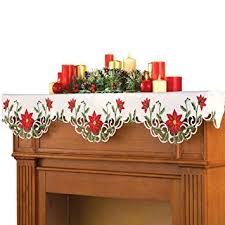 mantel scarf christmas poinsettia fireplace mantel scarf home
