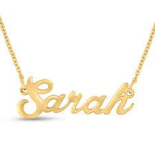 Gold Nameplate Necklaces Sarah Nameplate Necklace In Gold Superjeweler Com