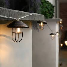 Outdoor Battery Operated Lights Outdoor Metal Battery Lantern Lights 10 Warm White Led S