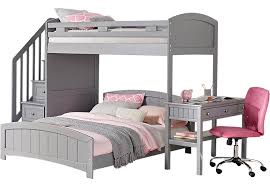 Bunk Bed With Desk Cottage Colors Gray Twin Twin Step Loft With Desk Bunk Loft Beds