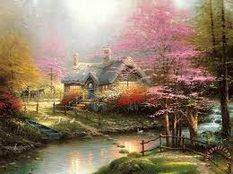 kinkade stepping cottage painting stepping