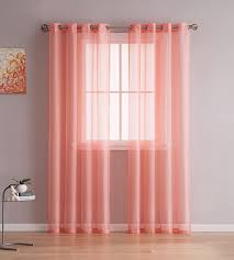 Sheer Coral Curtains Grommet Semi Sheer Curtains 2 Pieces Total Size