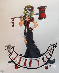 pin up sugar skull harley quinn drawing by suzanne shewmake akin