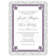 Lavender Wedding Invitations Invitations Plum Purple And Gray Elegant Damask