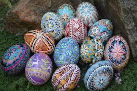 ukrainian decorated eggs pysanka blue decorated easter egg batik folk ukrainian