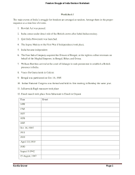 freedom struggle of india revision worksheets