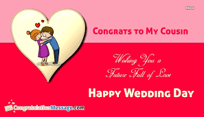 wedding quotes cousin congrats to my cousin on wedding day congratulationmessage