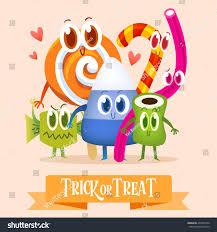 set cartoon candy halloween greeting cards stock vector 493533790