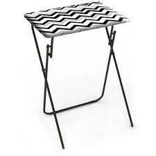 Folding Tray Table Set Folding Tray Table Chevron Black 2 Piece Set Walmart Com