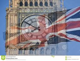 British Houses Big Ben Clock Tower Parliament House And British Flag Merged In
