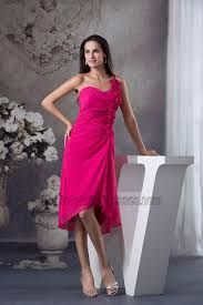 fuschia bridesmaid dress fuchsia one shoulder chiffon bridesmaid cocktail dresses