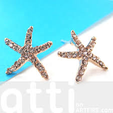 large stud earrings large starfish shaped stud earrings in gold with rhinestones