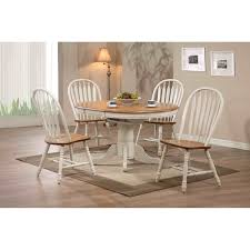 dining room gray expandable round dining table with white parson