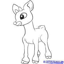 drawn reindeer rudolf pencil color drawn reindeer rudolf