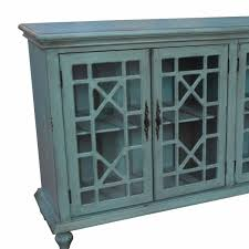 Rustic Furniture Store Mendenhall 4 Geometric Glass Door Textured Teal Sideboard By