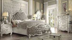King Sleigh Bedroom Sets by Acme 21147ek Versailles 4pcs Gray Pu White King Sleigh Bedroom Set