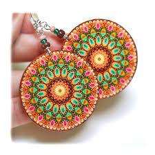 decoupage earrings rosette earrings mandala woodland pink brown green