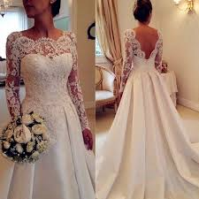 wedding dress a line a line bateau sleeves satin wedding dress with lace pleats