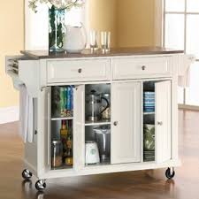 white kitchen island with stainless steel top white kitchen islands carts you ll wayfair