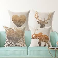 online get cheap cheap decorative pillows aliexpress com golden heart print animal cushion cover home decorative pillow 45 45 square pillowcase cotton linen