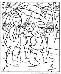 spring coloring pages kids going to in the rain coloring