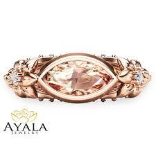 pink gold engagement rings 14k gold engagement ring marquise morganite engagement ring