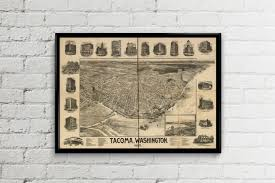 Tacoma Washington Map by Tacoma Washington Map Antique Us Map Tacoma Print Tacoma